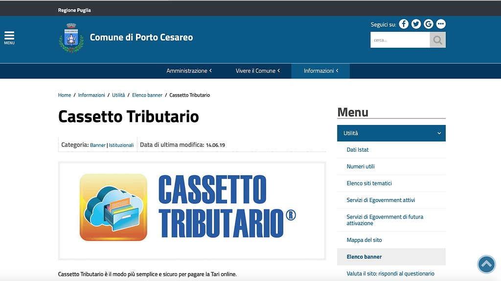 Porto Cesareo. Un altro Comune adotta il Cassetto Tributario.